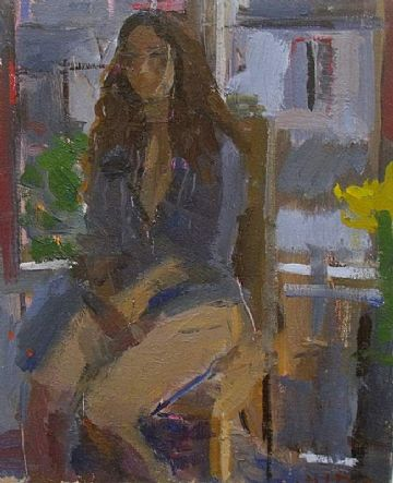 Bo Hilton Original Oil Painting Portrait Of A Woman Sitting By A Window